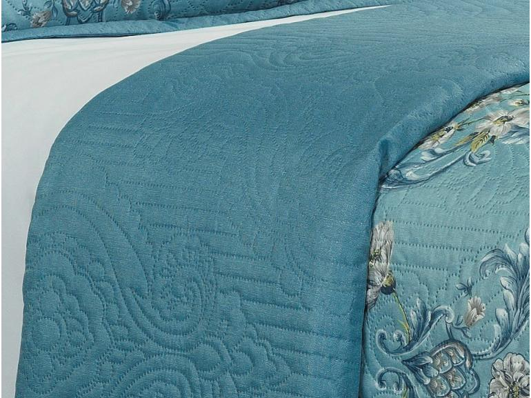 Kit: 1 Cobre-leito King Bouti de Microfibra Ultrasonic Estampada + 2 Porta-travesseiros - Abigail Azul - Dui Design