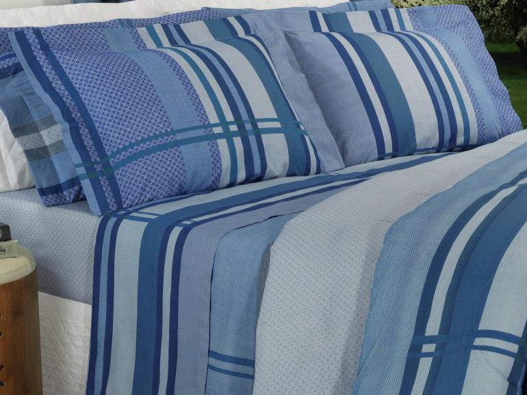 Jogo de Cama King Percal 200 fios - Adonis Azul - Dui Design