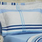 Kit: 1 Cobre-leito Casal + 2 Porta-travesseiros Percal 200 fios - Adonis Indigo - Dui Design