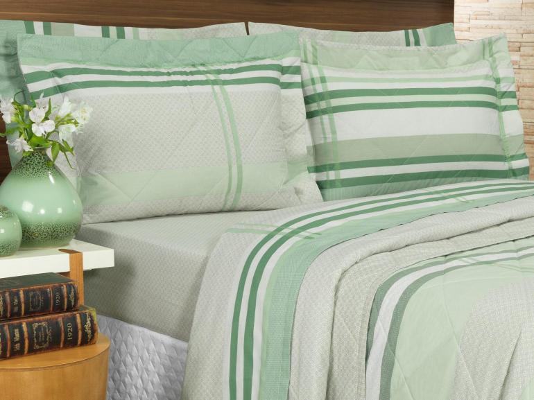 Kit: 1 Cobre-leito King + 2 Porta-travesseiros Percal 200 fios - Adonis Verde - Dui Design