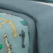 Kit: 1 Cobre-leito Solteiro Kids Bouti de Microfibra PatchWork Ultrasonic + 1 Porta-travesseiro - Aero Azul - Dui Design