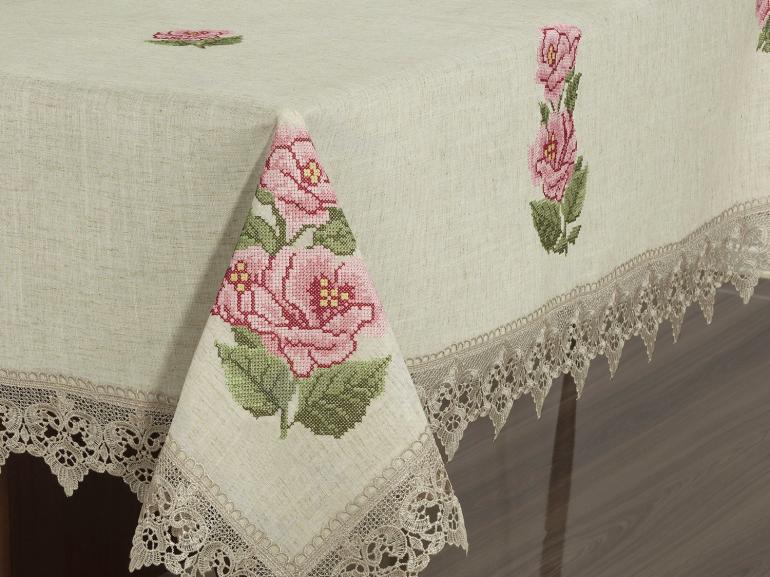 Toalha de Mesa de Linho com Bordado Richelieu Retangular 6 Lugares 160x220cm - Agnes Bege - Dui Design