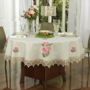 Toalha de Mesa de Linho com Bordado Richelieu Redonda 180cm - Agnes Bege - Dui Design