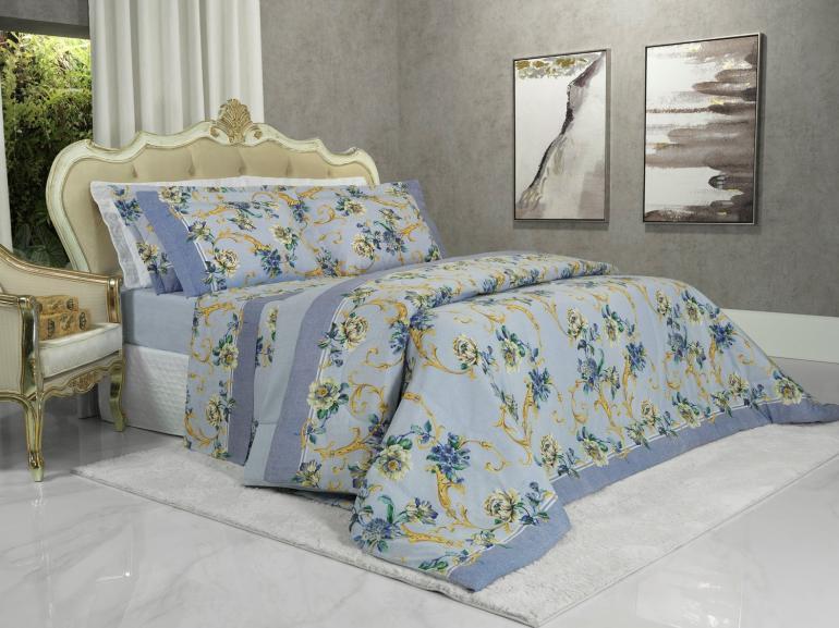 Edredom Solteiro 150 fios - Aisha Azul - Dui Design