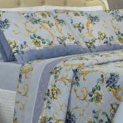 Kit: 1 Cobre-leito Casal + 2 Porta-travesseiros 150 fios - Aisha Azul - Dui Design