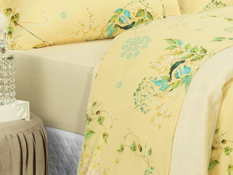 Jogo de Cama Casal 150 fios - Alberta Amarelo - Dui Design