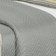 Kit: 1 Cobre-leito Solteiro Bouti de Microfibra Ultrasonic Estampada + 1 Porta-travesseiro - Alexei Cinza - Dui Design