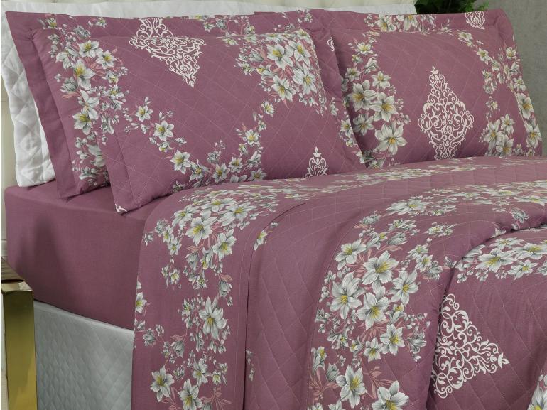 Kit: 1 Cobre-leito Queen + 2 Porta-travesseiros 180 fios - Alison Rosa Velho - Dui Design