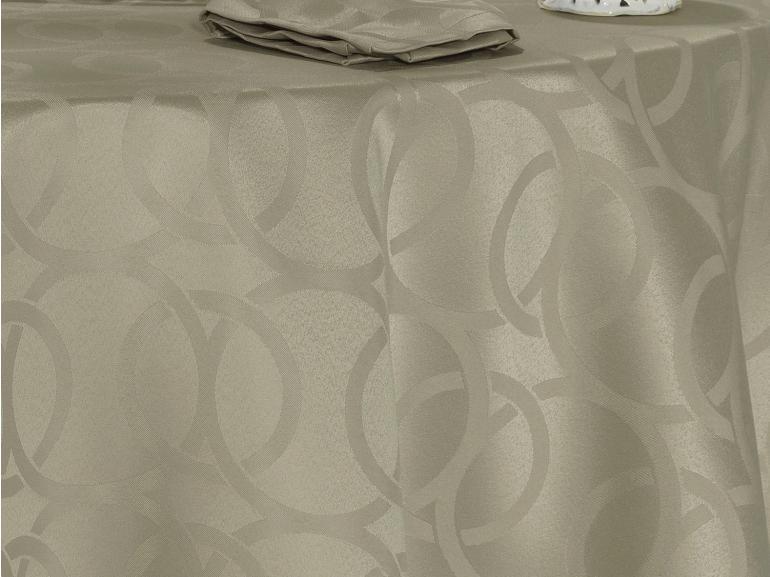 Toalha de Mesa Fácil de Limpar Redonda 220cm - Alliance Bege - Dui Design