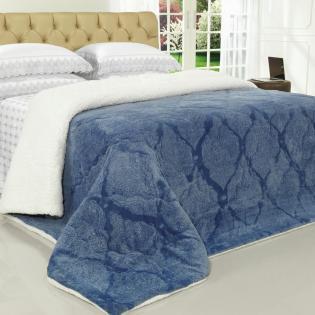 58fd987e0f Edredom Casal Pele de Carneiro e Plush - Sherpa Allure Azul Stone - Dui  Design