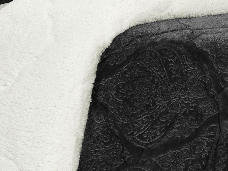 Edredom Casal Pele de Carneiro e Plush - Sherpa Allure Grafite - Dui Design