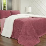 Edredom Solteiro Pele de Carneiro e Plush - Sherpa Allure Rosa Velho - Dui Design