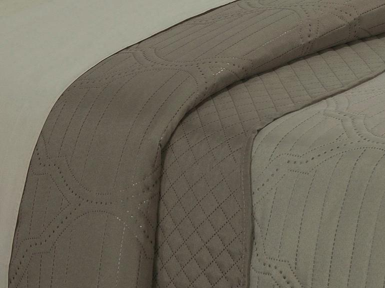 Kit: 1 Cobre-leito Casal Bouti de Microfibra Ultrasonic + 2 Porta-travesseiros - Almere Bege e Taupe - Dui Design