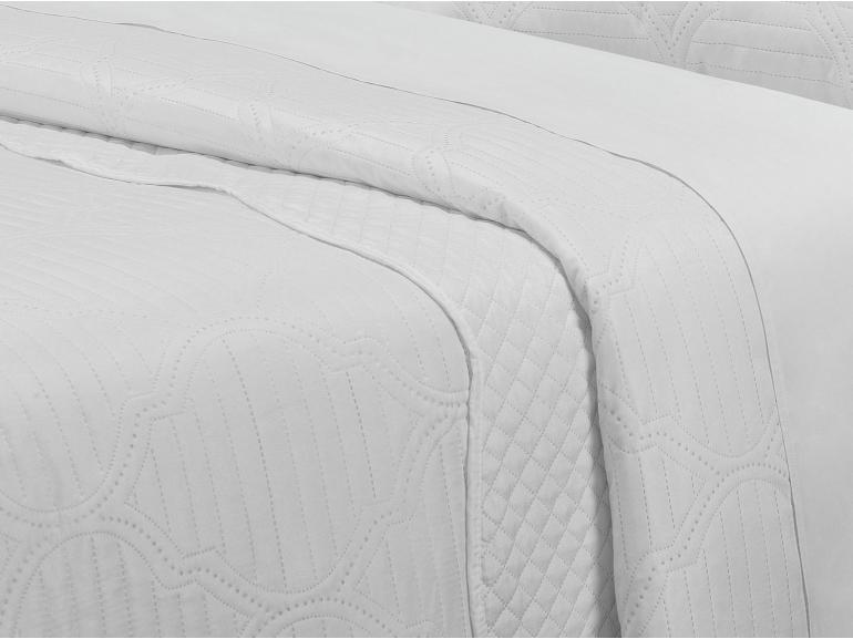 Kit: 1 Cobre-leito Casal Bouti de Microfibra Ultrasonic + 2 Porta-travesseiros - Almere Branco - Dui Design