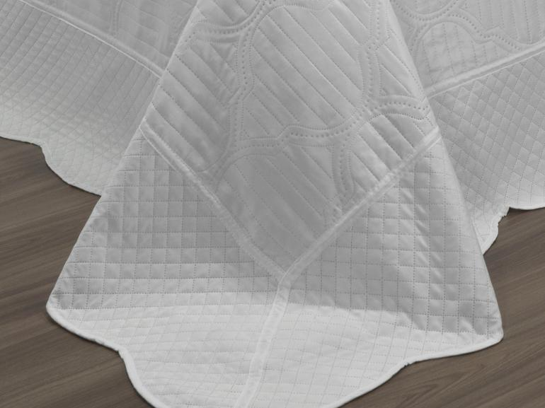 Kit: 1 Cobre-leito King Bouti de Microfibra Ultrasonic + 2 Porta-travesseiros - Almere Branco - Dui Design