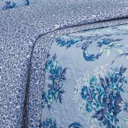 Kit: 1 Cobre-leito Casal Bouti de Microfibra Ultrasonic Estampada + 2 Porta-travesseiros - Amada Azul Porcelana - Dui Design