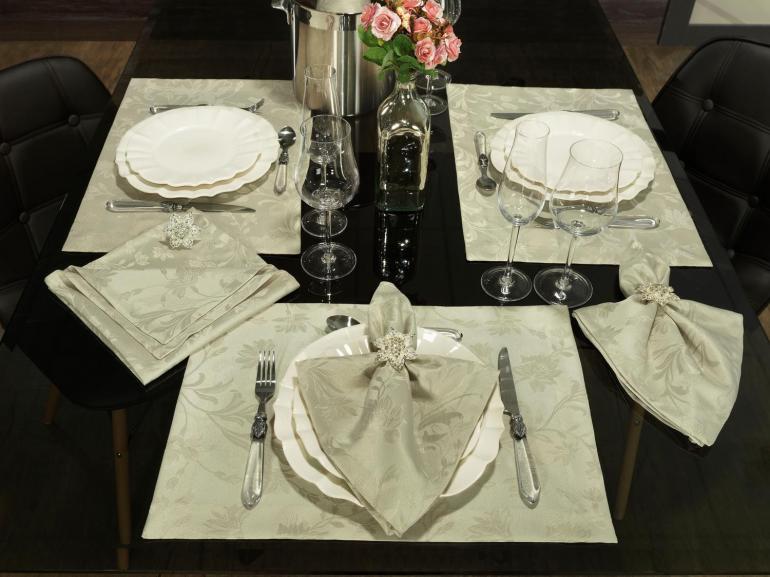 Kit: 4 Guardanapos 50x50cm - Amalfi Bege - Dui Design
