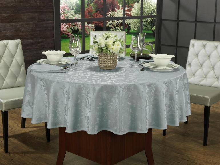 Toalha de Mesa Fácil de Limpar Redonda 220cm - Amalfi Cinza - Dui Design