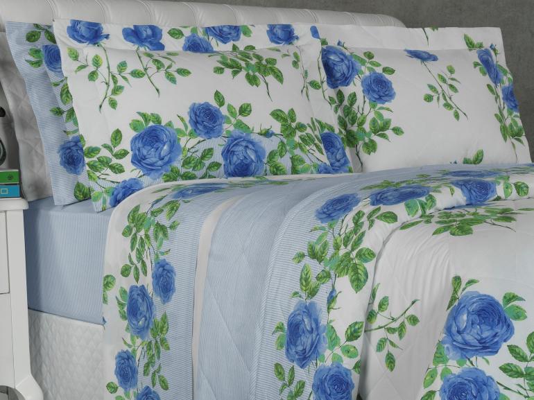 Kit: 1 Cobre-leito Solteiro + 1 Porta-travesseiro Percal 200 fios - Amandy Porcelana - Dui Design