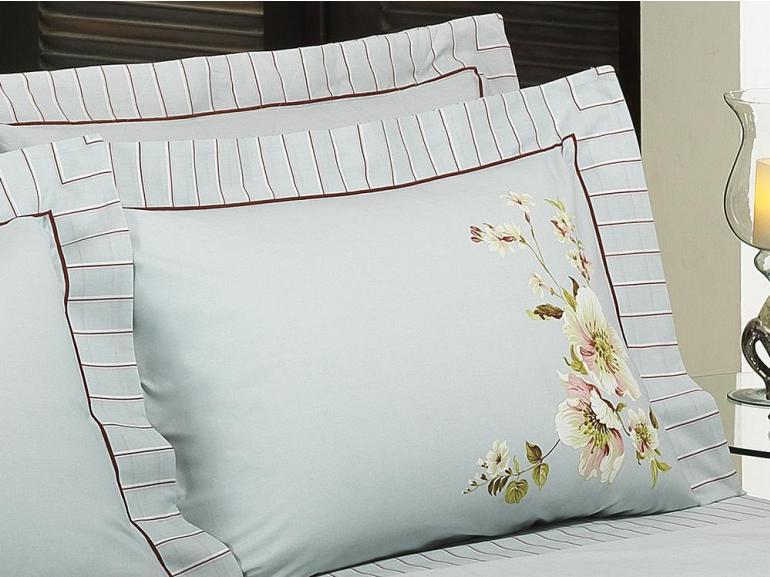 Kit: 1 Cobre-leito Queen + 2 Porta-travesseiros Percal 200 fios 100% Algodão - Amanhecer Vermelho - Dui Design
