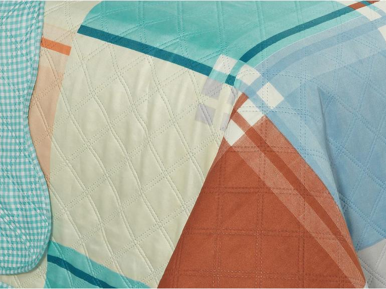 Kit: 1 Cobre-leito King Bouti de Microfibra Ultrasonic Estampada + 2 Porta-travesseiros - Amaro Azul - Dui Design
