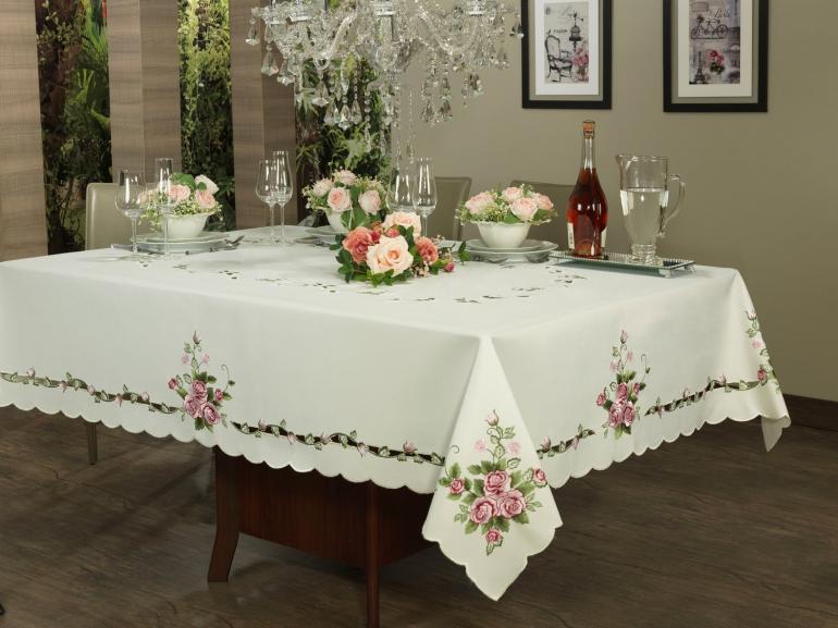 Toalha de Mesa com Bordado Richelieu Retangular 6 Lugares 160x220cm - Anabela Rosa - Dui Design