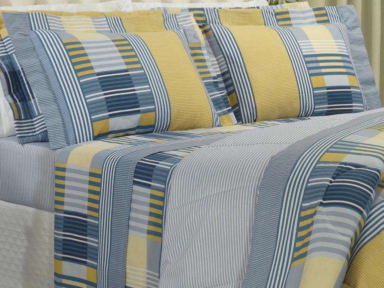 Jogo de Cama Casal 150 fios - Anacapri Azul - Dui Design
