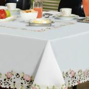 Toalha de Mesa com Bordado Richelieu Quadrada 4 Lugares 160x160cm - Anelise Branco e Rosa - Dui Design