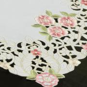Trilho de Mesa com Bordado Richelieu 40x85cm Avulso - Anelise Branco e Rosa - Dui Design