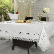 Toalha de Mesa com Bordado Richelieu Retangular 6 Lugares 160x220cm - Angelina Branco - Dui Design