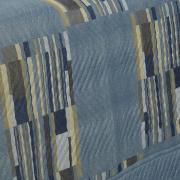 Kit: 1 Cobre-leito Casal Bouti de Microfibra Ultrasonic Estampada + 2 Porta-travesseiros - Angelo Azul - Dui Design