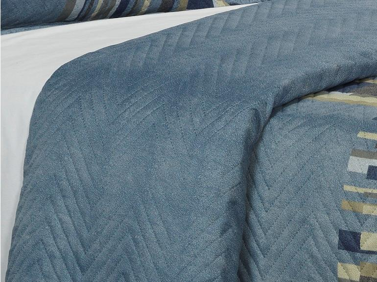 Kit: 1 Cobre-leito Solteiro Bouti de Microfibra Ultrasonic Estampada + 1 Porta-travesseiro - Angelo Azul - Dui Design