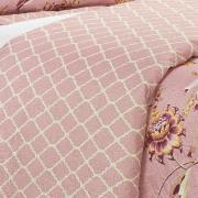 Kit: 1 Cobre-leito Casal Bouti de Microfibra Ultrasonic Estampada + 2 Porta-travesseiros - Anisha Rosa Velho - Dui Design