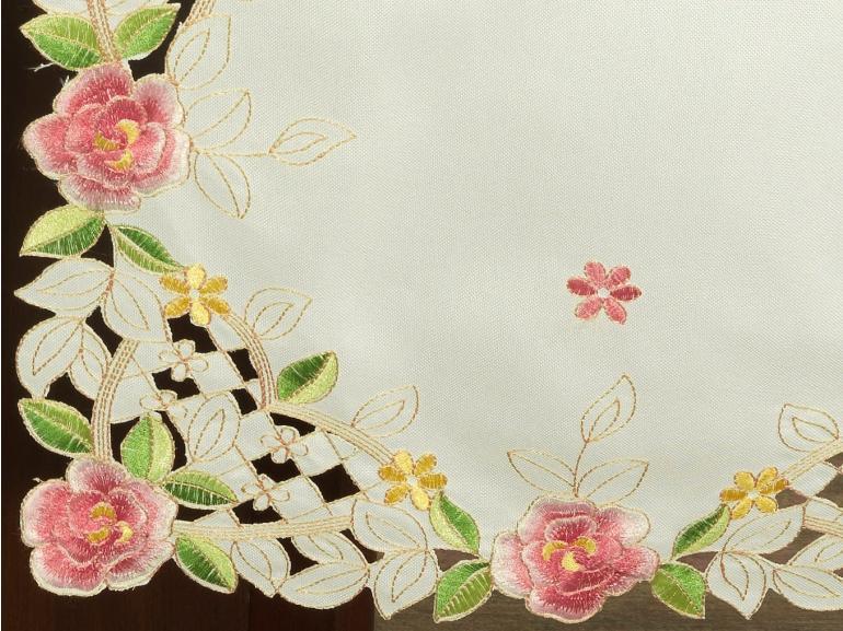 Trilho de Mesa com Bordado Richelieu 45x170cm Avulso - Anita Rosa - Dui Design
