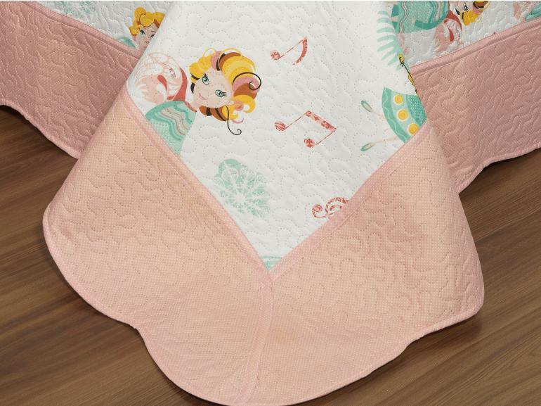 Kit: 1 Cobre-leito Solteiro Kids Bouti de Microfibra PatchWork Ultrasonic + 1 Porta-travesseiro - Anjos Rosa - Dui Design