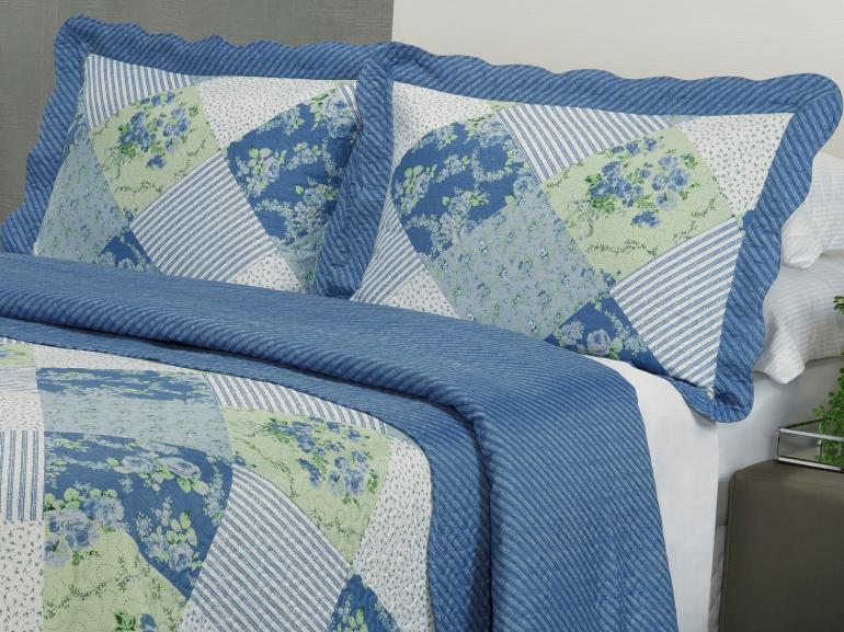 Kit: 1 Cobre-leito Casal Bouti de Microfibra Ultrasonic Estampada + 2 Porta-travesseiros - Antônia Azul - Dui Design