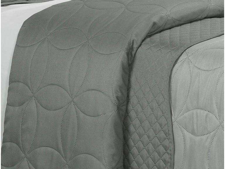 Kit: 1 Cobre-leito Queen Bouti de Microfibra Ultrasonic + 2 Porta-travesseiros - Antony Cinza - Dui Design