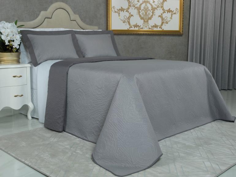 Kit: 1 Cobre-leito King Bouti de Microfibra Ultrasonic + 2 Porta-travesseiros - Aquila Cinza - Dui Design