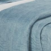 Kit: 1 Cobre-leito Solteiro Bouti de Microfibra Ultrasonic Estampada + 1 Porta-travesseiro - Aritana Azul - Dui Design