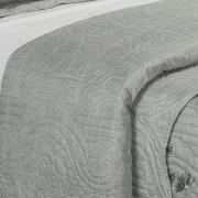 Kit: 1 Cobre-leito Casal Bouti de Microfibra Ultrasonic Estampada + 2 Porta-travesseiros - Aritana Cinza - Dui Design