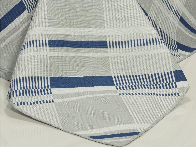 Kit: 1 Cobre-leito Casal Bouti de Microfibra Ultrasonic Estampada + 2 Porta-travesseiros - Arnold Cinza - Dui Design