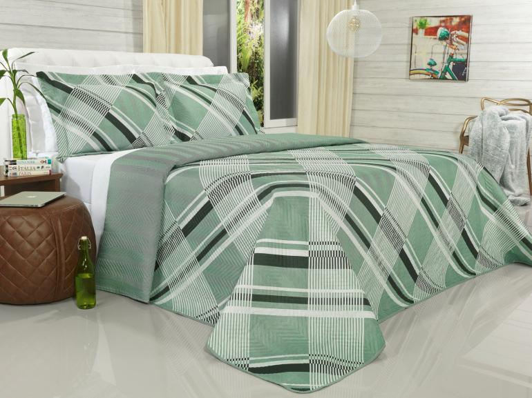 Kit: 1 Cobre-leito King Bouti de Microfibra Ultrasonic Estampada + 2 Porta-travesseiros - Arnold Confrei - Dui Design