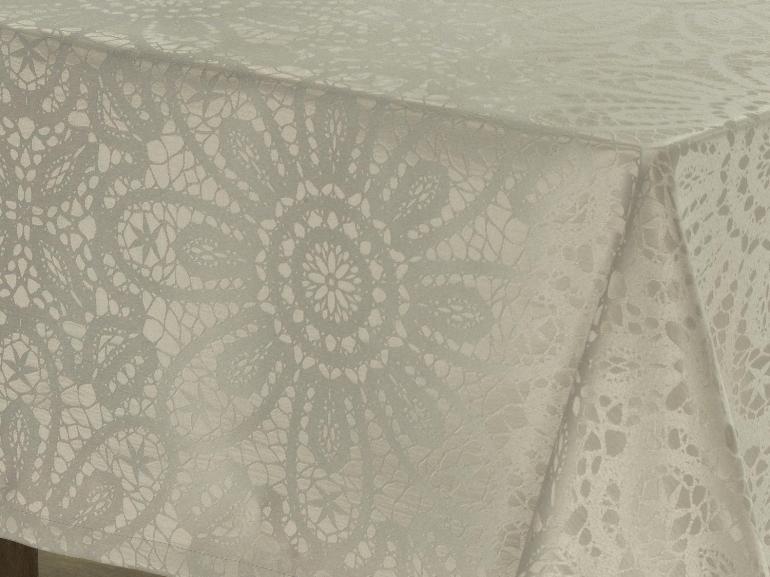 Toalha de Mesa Fácil de Limpar Retangular 6 Lugares 160x220cm - Artesian Bege - Dui Design