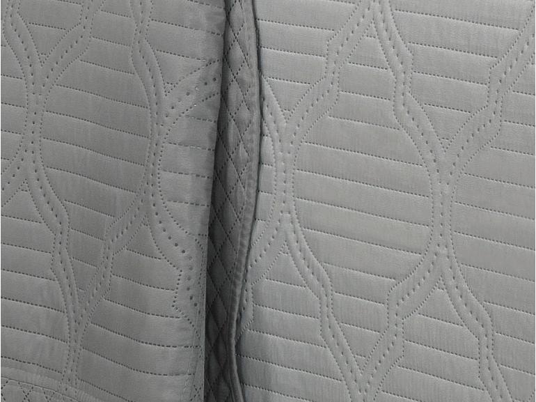 Kit: 1 Cobre-leito Solteiro Bouti de Microfibra Ultrasonic + 1 Porta-travesseiro - Assis Cinza - Dui Design