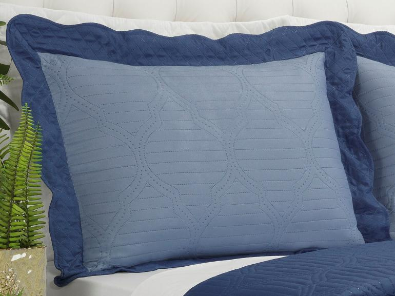 Kit: 1 Cobre-leito Casal Bouti de Microfibra Ultrasonic + 2 Porta-travesseiros - Assis Indigo - Dui Design