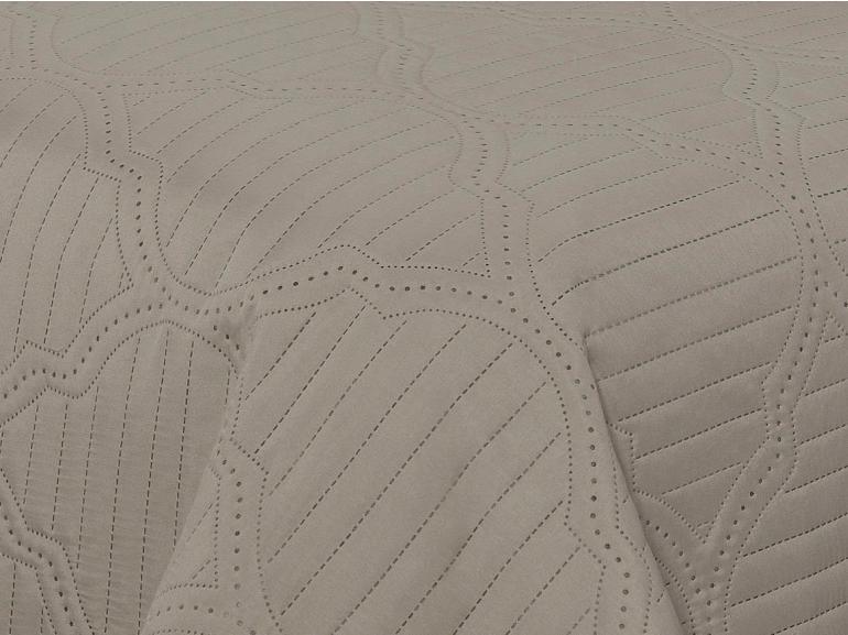 Kit: 1 Cobre-leito Casal Bouti de Microfibra Ultrasonic Estampada + 2 Porta-travesseiros - Assis Noz Moscada - Dui Design