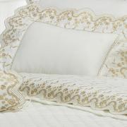 Jogo de Cama Queen Percal 200 fios com Bordado Inglês - Astoria Caqui e Branco - Dui Design