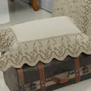 Kit: 1 Cobre-leito Casal + 2 porta-travesseiros Percal 200 fios com Bordado Inglês - Astoria Castanho - Dui Design