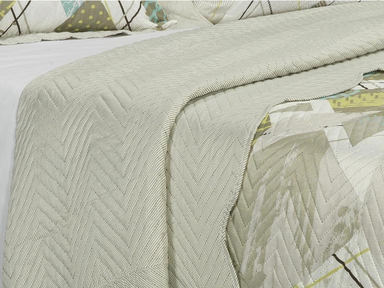 Kit: 1 Cobre-leito Casal Bouti de Microfibra Ultrasonic Estampada + 2 Porta-travesseiros - Astro Stone - Dui Design