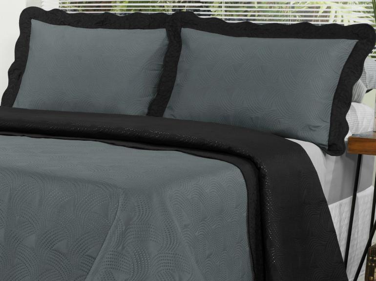 Kit: 1 Cobre-leito Casal Bouti de Microfibra Ultrasonic + 2 Porta-travesseiros - Atenas Cinza e Preto - Dui Design